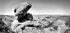 Toledo (alex) Tags: city blackandwhite bw panorama espaa landscape town blackwhite spain rocks view toledo tagusriver