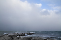 A Peek of Blue Sky (brucetopher) Tags: winter cloud snow storm cold beach clouds squall waves wave windy gusty wintry brucetopher