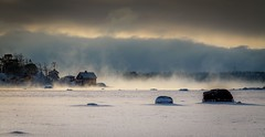 Isle of red cabin (mika.laitinen) Tags: ocean winter sea white snow seascape cold colour tree ice nature clouds canon suomi finland island bay frozen helsinki frost cost steam freeze 7d isle vuosaari 2016 uusimaa kallvik redcabin ef24105mmf4l