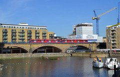 Limehouse & DLR (R~P~M) Tags: uk greatbritain england london train canal unitedkingdom railway basin viaduct docklands lightrail dlr limehouse
