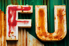 F.U (Triple_B_Photography) Tags: camera old red bali orange brown green film stain metal closeup indonesia logo rust fuji zoom steel letters rusty rusted worn symbols sanur