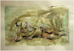 Liegender rechts Kopf stutzend (Alemwa) Tags: man berlin kreuzberg nude sketching mann bg aktzeichnen berlinischegalerie a alemwa vesselaposner