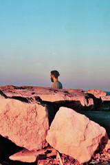 Howling (A N D Y E L K A N A N I) Tags: light sunset red portrait cliff seaside rocks