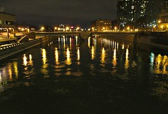 Riverlights (DannyAbe) Tags: lights rochester geneseeriver sistercitiesbridge