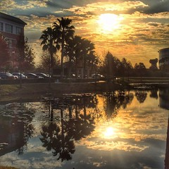 Morning Walk (MsDee) Tags: city morning sky sun lake reflection clouds pond cropped wak bigphoto iphoneography snapseed 366project2016