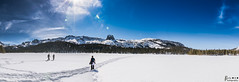 Lake Mary Panoramic (rvraddict@att.net) Tags: blue trees sky panorama white snow mountains clouds lens landscape nikon hiking tokina pines mammoth flare blueskies frozenlake d7100 tokina116 tokina111628