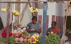Flower Seller (Karthik Thorali) Tags: street people india streets shop canon outdoor weekend superia streetphotography fujifilm chennai 800 cwc 500n clickers triplicane fujifilmsuperia800 130216 chennaiweekendclickers cwcchennaiweekendclickers 13feb2016 cwc508