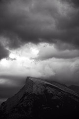 Storm on Mt. Rundle (Alan Valjak) Tags: blackandwhite mountain rain alberta banff mountrundle stormclouds