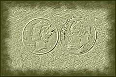 Dimes (NC Mountain Man) Tags: macro closeup sepia nikon mercury coins 10 roosevelt dime ten 1941 tencents 2015 d3200 silverdime ncmountainman phixe