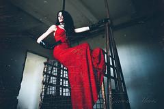 (G i a c o m o - M a c i s) Tags: red portrait abandoned canon model dress decay room portraiture elegant modelling elegance laced nx 5dmk2
