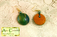 Green and Gold Marbled Earrings. (Polymer Clay Delights) Tags: blue green gold diy handmade reptile oneofakind ooak peacock jewelry lizard jewellery polymerclay handcrafted earrings polyclay