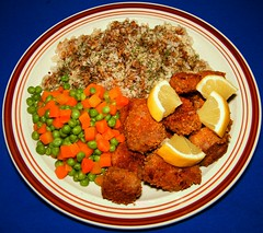 Corn Flake Breaded Pork Ribs (ezigarlick) Tags: food lemon rice pork ribs carrots homecooking cornflakes breaded greenpeas