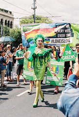 Greens (Katie Tarpey) Tags: 35mm costume politics australia melbourne pride queen greens nikonfm10 dragqueen equalrights equality marriageequality thegreens kodakportra400 loveislove nikkor50mm14 lgbtqia greensparty pridemarchmelbourne votegreens pridemelbourne pridemarchmelbourne2016 greensdragqueen