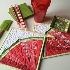 Melon Wedge Potholders (Modern Quilting by B) Tags: paper pattern quilt mini block piece wedge watermilon