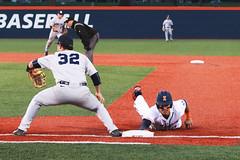 The Nick of Time (RPahre) Tags: illinois baseball pennstate universityofillinois urbana safe throw steal firstbase adamwalton tylerkendall