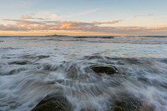 Low Hauxley (Callaghan69) Tags: sunset sea seascape beach water clouds coast seaside nikon northumberland coastal northsea coastline filters goldenhour nisi coquetisland watermotion d810 ukbeaches lowhauxley tokina1735mmf4atxprofx