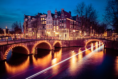 Amsterdam Canals (adrianchandler.com) Tags: city nightphotography bridge urban holland water netherlands dutch amsterdam architecture night canal europe exterior nightscape outdoor dusk lighttrails bluehour adrianchandler canon5dsr