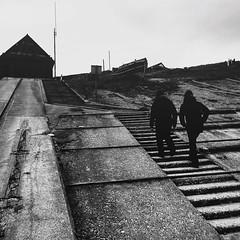 ain't no halfsteppin' (I AM JAMIE KING) Tags: uk square concrete mono coast boat blackwhite fishing yorkshire steps angles gritty landing squareformat bnw slope slipway steep flamborough northlanding iphoneography instagramapp