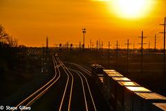 Sunrise along the BNSF Emporia Sub. (Machme92) Tags: railroad sunset america sunrise nikon action rail row bn kansascity american rails kansas ge railfan bnsf railroads railroading railfanning gevo railfans nikond7200 burligrton