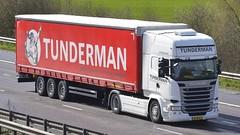 61-BFL-3 (panmanstan) Tags: truck wagon motorway m18 yorkshire transport international lorry commercial vehicle scania langham r410 curtainsider