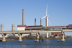 Draw 7 Afternoon (I) (imartin92) Tags: bridge plant train river power wind massachusetts rail line smokestack somerville commuter locomotive passenger mbta turbine mystic everett rockport mpi mp36ph3c massachusettsbaytransportationauthority