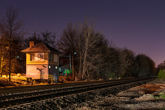 A Tower in the Night (sullivan1985) Tags: county new railroad tower night nj headlights illuminated line jersey bj erie bergen westbound lackawanna rutherford interlocking