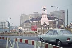 Lancaster Circus, Birmingham, 1968 (Lady Wulfrun) Tags: birmingham 1968 firestation viva hb fleetline vauxhall bct d9 midlandred bmmo lancastercircus