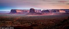 Twighlight, Elephant Bute and Spearhead Mesa, Monument Valley Navajo Tribal Park (IanLyons) Tags: travel sunset arizona usa sun twilight awesome scenic northamerica elephantbutte afterglow monumentvalleynavajotribalpark spearheadmesa oljatomonumentvalley raingodmesaarea