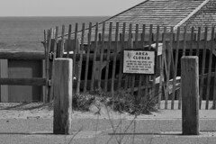 Beach Access Closed (brucetopher) Tags: ocean sea blackandwhite bw white storm black beach monochrome weather blackwhite surf waves wind destruction wave gale erosion disaster damage