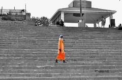 Once in a while its important to ignore the bearings of life, and think about the Monk who sold his Ferrari :) (Miraage.clicks) Tags: travel orange india asia prayer religion culture monk sage traveller varanasi lone meditation splash sadhu ganges travelogue benaras assi solace