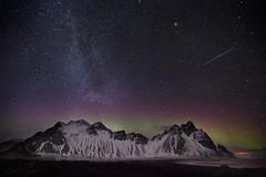 Vesterhorn, Meteor and a bit of an Aurora (ms2thdr) Tags: winter night dark stars iceland glow workshop meteor auroraborealis easticeland vesterhorn icelandauroraphototours