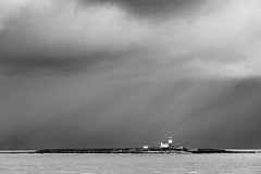 Storm over Coquet Island (Camillo Berenos) Tags: england blackandwhite storm rain shower seascapes northumberland northsea coquetisland seascapephotography