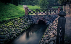 Tales of old little bridge (grace.morgan100) Tags: park old bridge trees summer color mill water grass architecture evening canal colorful long exposure stones chain