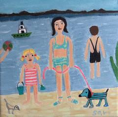 "#1310 ""On the beach"" (sariart2) Tags: ocean original boy dog seascape abstract art beach girl yellow painting boat sand acrylic raw folk outsider ooak naive sari primitive azaria noy"