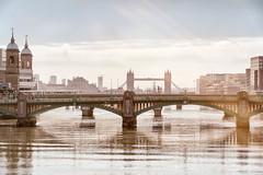 London Bridges (explored) (cuppyuppycake) Tags: bridge england london tower water thames river haze nikon outdoor bridges southwark d7200