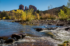 Oak Creek & Cathedral Rock, Sedona (IanLyons) Tags: travel trees arizona usa nature water river landscape morninglight scenic sedona cottonwood northamerica cathedralrock formations tranquilscene oakcreek redrockcampground redrockcountry riffles