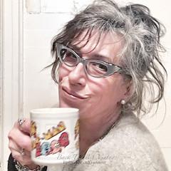 Silver Grey Severe 50's Cat Eye Eyeglass Frames France (Retro Focus Eyewear & Back Thennish Vintage) Tags: selfportrait pacman coffeemug eyeglasses goodmorning cateye coffeedrinker cateyeglasses drinkingcoffee lookwhativegot cateyeframes
