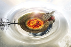 Small World (Ian Thurlby) Tags: world sun moon mountain tree water composite small planet crosssection