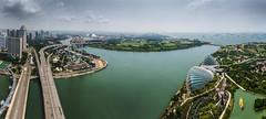 View from the Marina Bay Sands Skydeck in Singapore (stefan.proff) Tags: travel panorama marina garden bay flyer singapore asia asien sdostasien view sony roadtrip backpack botanic traveling southeast alpha aussicht sands backpacker garten singapur riesenrad slt reise 58 botanischer