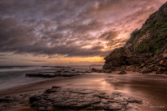 Can't walk around now (JustAddVignette) Tags: ocean christmas sunset sea sky cliff seascape beach water clouds reflections landscapes sand rocks waves dusk sydney australia newsouthwales hightide lastlight rockpool aftersunset northernbeaches seawater lookingsouth turimetta