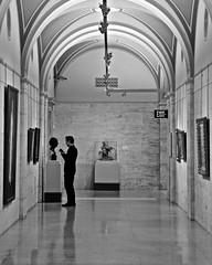 Taking Notes (tim.perdue) Tags: street new columbus ohio bw white man black art monochrome museum person hall notes candid hallway figure taking cma cmoa