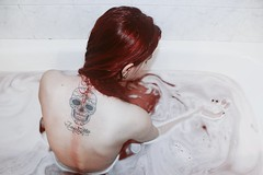 (biancamanson97) Tags: red white inspiration art me water tattoo shower model bath redhair mexicanskull