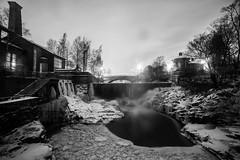Icy dam (Cattail_) Tags: winter ice monochrome night finland river helsinki vanhankaupunginlahti dam icy vanhankaupunginkoski samyang