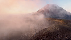 The Misty Veil (blue polaris) Tags: park new morning red cloud mist fog sunrise landscape island volcano mt crossing cloudy north foggy mount zealand alpine national crater tongariro ngauruhoe
