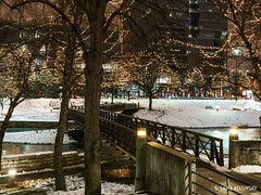 Snow and Lights at  Gene Leahy Mall Part 1 (lpvisuals.com) Tags: christmas city longexposure urban usa streets skyline architecture night lights nebraska downtown cityscape traffic omaha woodmen mutualofomaha 2015 centurylinkcenter sonya7ii fe1636mmf4