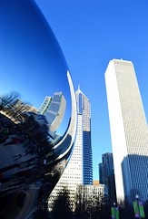 city & bean (ekelly80) Tags: park city chicago art skyline reflections illinois view skyscrapers bean millenniumpark cloudgate windycity december2015