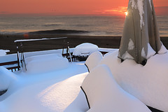 """After the storm - No breakfast """"alfresco"""" today (On Explore 1/30/2016) (die Augen) Tags: sea sun snow beach canon sand wave patio sl1 accumulation"""