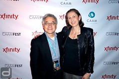 CAAMFest 2016 Launch Party at Mercer | Executive Director Stephen Gong with Dig In Magazine Editor-in-Chief Cindy Maram (diginmag) Tags: sanfrancisco party mercer launchparty caamfest2016