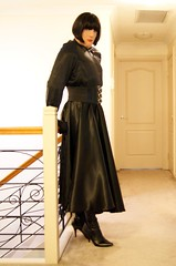 Black Night (6) (Furre Ausse) Tags: black leather belt dress boots skirt blouse gloves satin cincher governess gouvernante