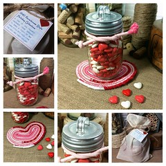 "You asked for more of our handmade heart shaped items in time for Valentine's Day and I listened. I just added these Mason Jar Candy Jar Sets to our Etsy Shop. These sets include a fabric heart shaped trivet with matching tie, pint sized Mason Jar, and ga • <a style=""font-size:0.8em;"" href=""http://www.flickr.com/photos/54958436@N05/24449814625/"" target=""_blank"">View on Flickr</a>"